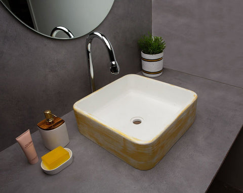 Concrete Sonnet Wash Basin White-Gold-Eliteearth