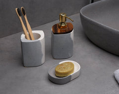 Concrete Sorbet Bath Accessories Set-Eliteearth