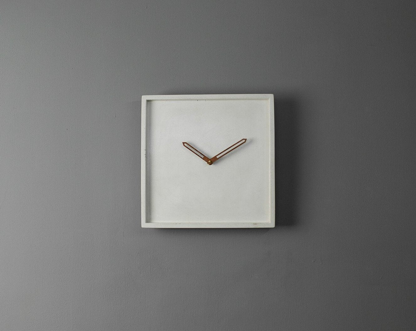 Concrete Square Wall Clock White-Eliteearth