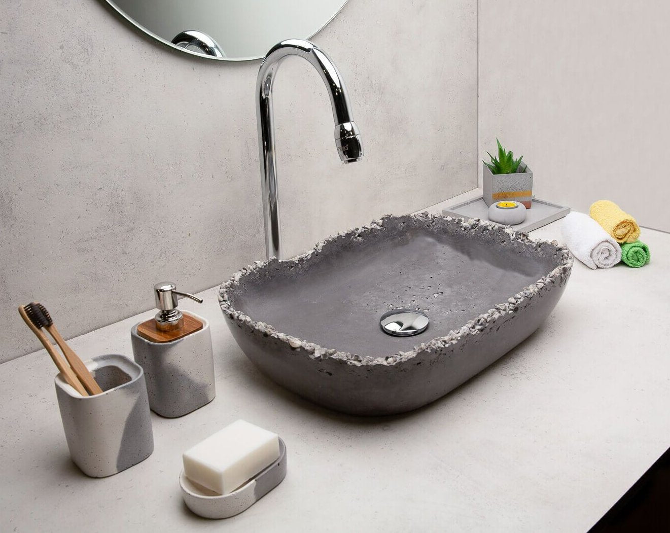 Concrete Stanza Wash Basin - Charcoal White-Eliteearth
