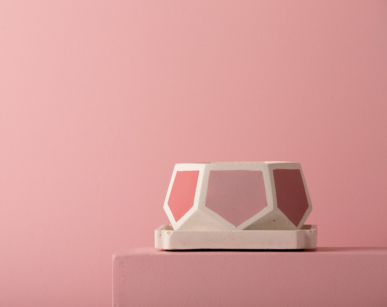 Concrete T-Mark Planters - Pink Invertrix Collection - Eliteearth