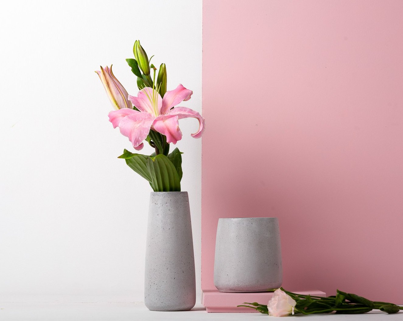 Concrete Tinted Vase Duo in Grey - Vazo Collection - Eliteearth