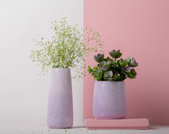 Concrete Tinted Vase Duo in Lavender-Vazo Collection - Eliteearth