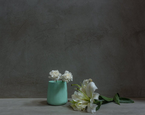 Concrete Tinted Vase in Green - Vazo Collection - Eliteearth