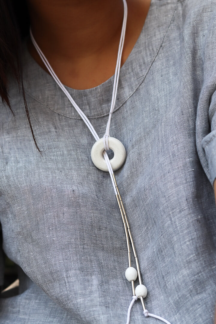 Concrete White Bead Adjustable NeckPiece-Eliteearth