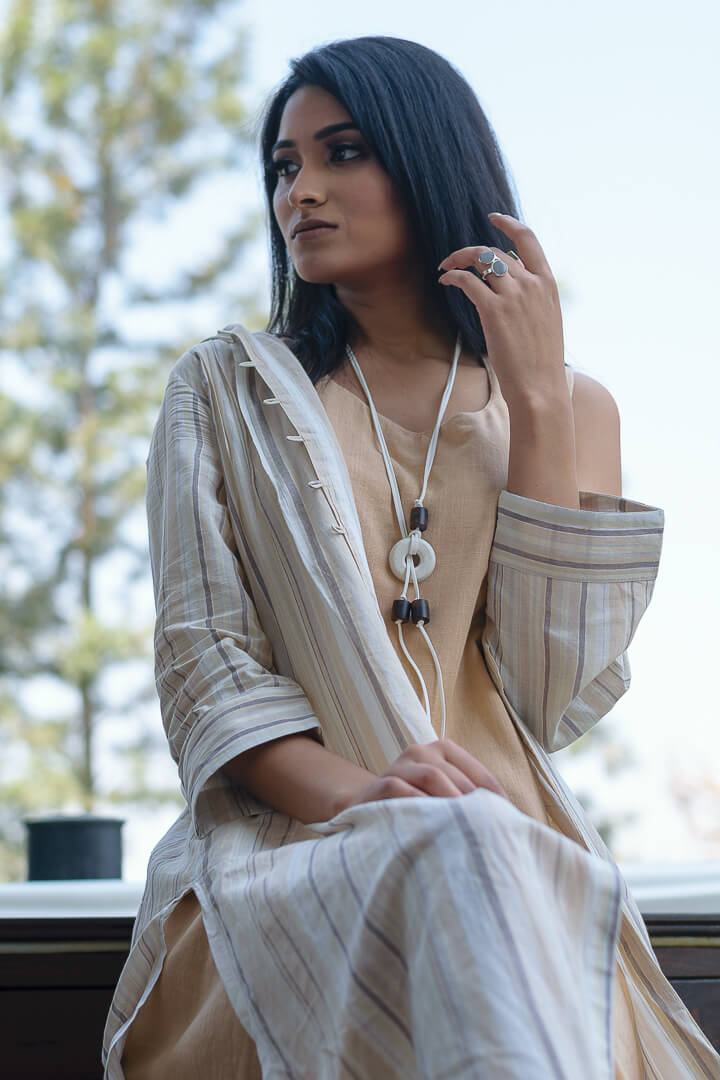 Concrete White Bead and wood Adjustable NeckPiece-Eliteearth