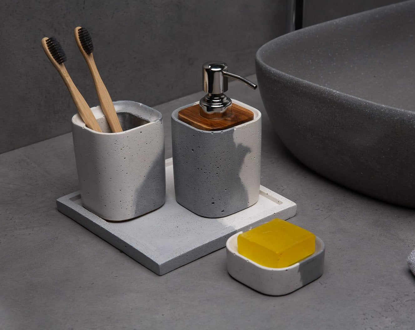 Concrete Wisp Bath Accessories Set-Eliteearth