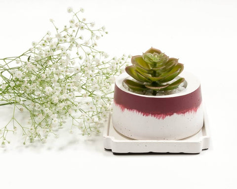 Concrete Cracker Barrel Planter in Awakening, Asian Paints<br>  Colour of the Year 2019 - Eliteearth