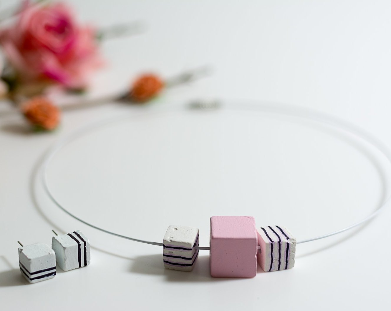 White and Pink Handpainted concrete chord Necklace and Earing Set - Eliteearth