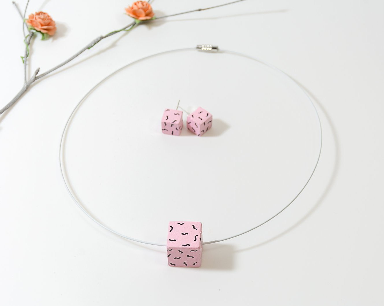 Pink Handpainted concrete chord Necklace and Earing Set - Eliteearth