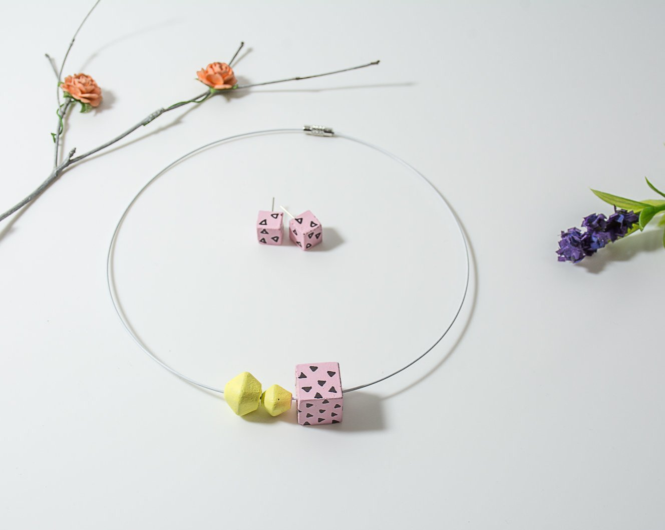 Pink and Yellow Handpainted concrete chord Necklace and Earing Set - Eliteearth