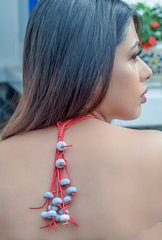 Concrete Beaded Red Strings  of Thread NeckPiece-Elitearth