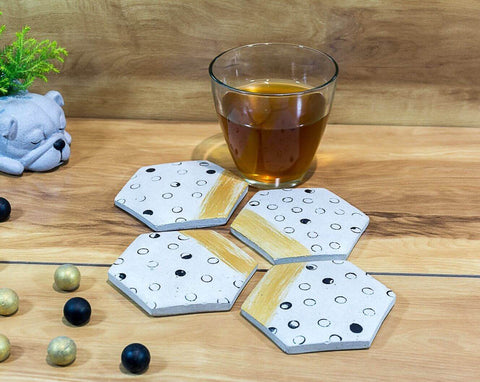 Concrete Hexa Small Coasters Grey - Strokes Collection - Eliteearth