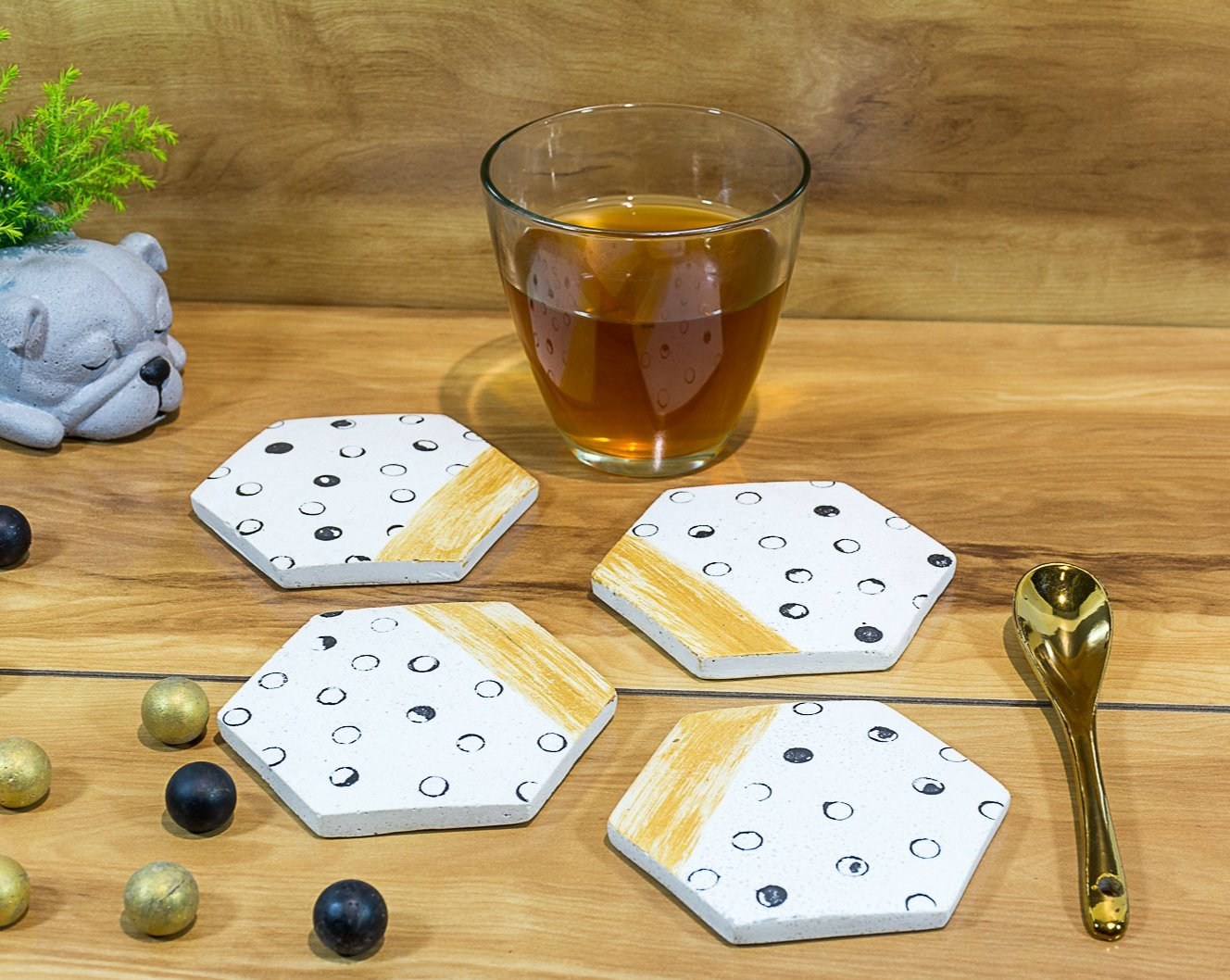 Concrete Hexa Small Coasters White - Strokes Collection - Eliteearth