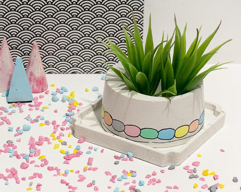 Concrete Cracker Barrel Planter - Confetti Collection - Eliteearth