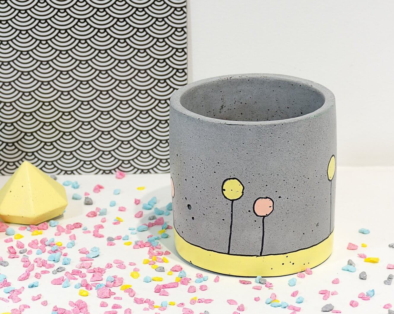 Concrete Circlet Planter - Confetti Collection - Eliteearth