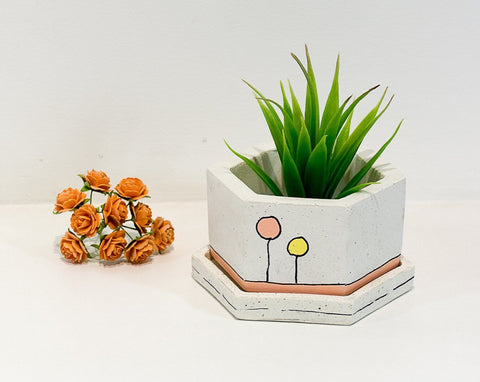 Concrete Hexafun Planter - Confetti Collection - Eliteearth