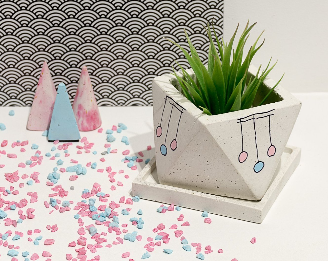 Concrete Octave Planter - Confetti Collection - Eliteearth