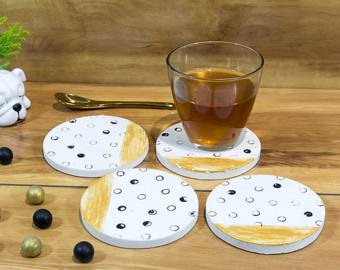 Concrete Round Coasters White - Strokes Collection - Eliteearth