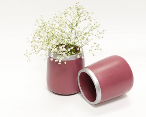 Concrete Short Vase in Awakening, Asian Paints<br>Colour of the Year 2019 - Eliteearth