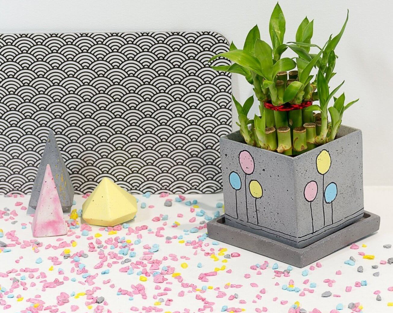 Concrete Square Faced  Planter - Confetti Collection - Eliteearth