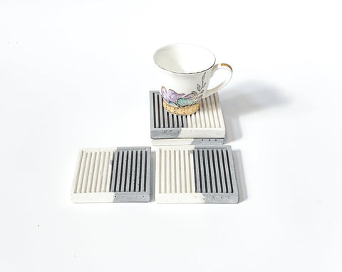 Concrete Simply Stripy Coasters - Dual Tone Collection - Eliteearth