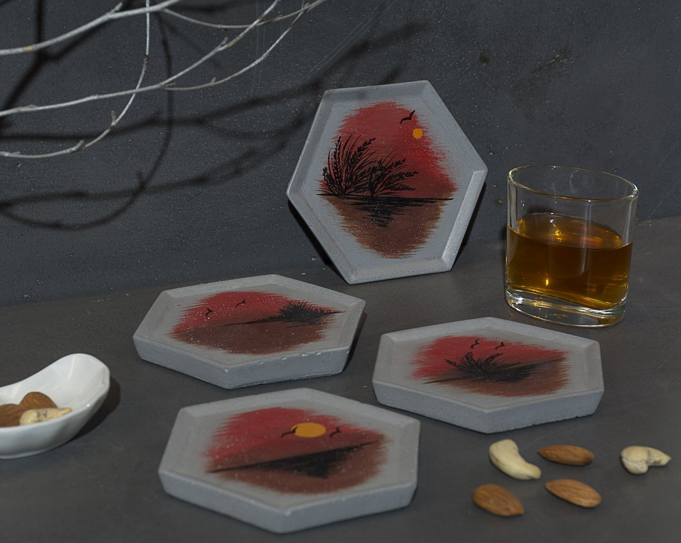 Concrete Style Coasters Grey - Silhouette Collection - Eliteearth
