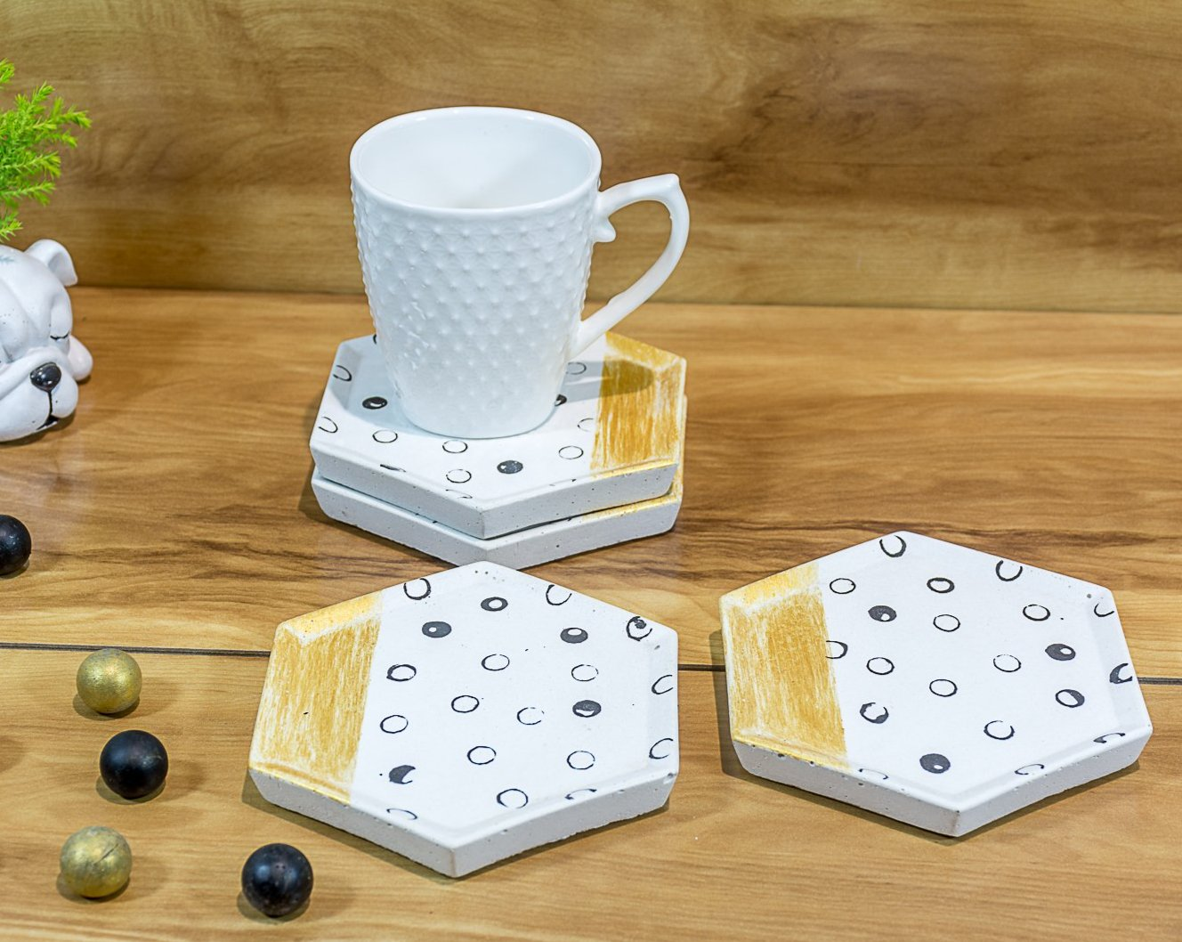 Concrete Style Coasters White - Strokes Collection - Eliteearth