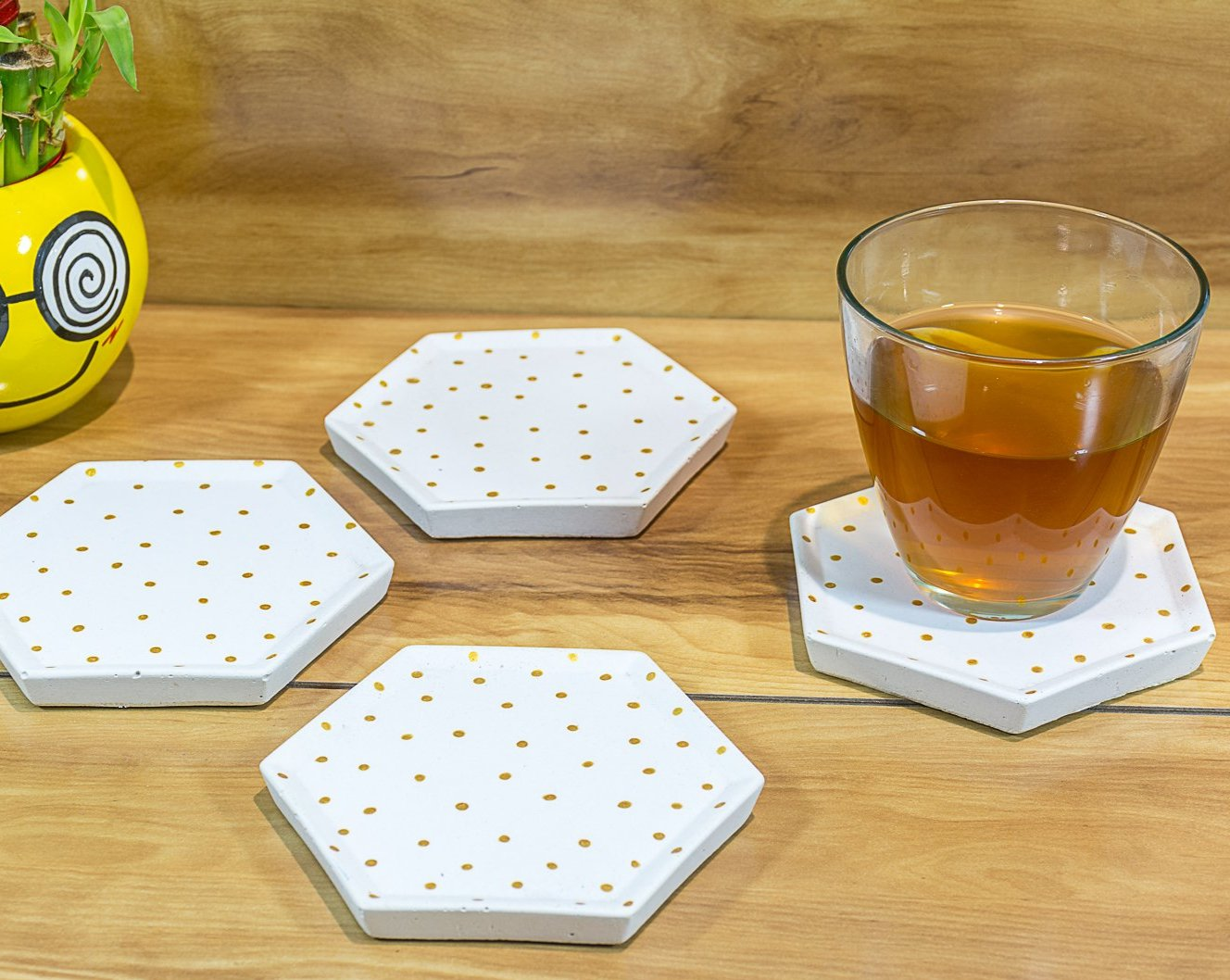 Concrete Style Coasters White - Polka Collection - Eliteearth