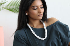 Ultra Light Weight White Concrete Beaded Neckpeice-Eliteearth
