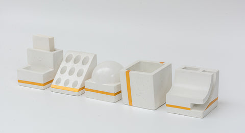 Concrete Penta Organiser- White Gold Collection - Eliteearth