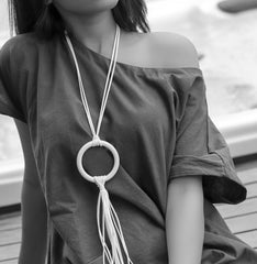 White Concrete Ringo Pendant with Faux Leather Neckpiece