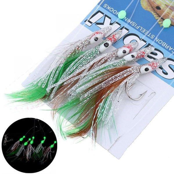 5 In 1 Luminous Sabiki Soft Fishing Lure Hook Octopus Shaped Feather Fishing String Hook During Night Fishing Tackle