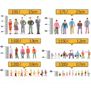 100Pcs 1:150 Scale DIY Painted People Figures Model For Sand Table Train Layout