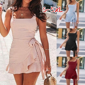 Summer Women Solid Short Dress Ruffled Sleeveless Dress Plus Size