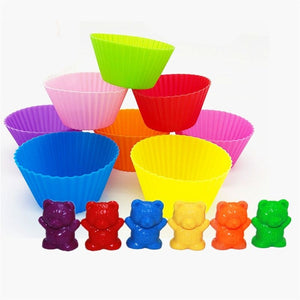 Counting Bears With Stacking Cups - Montessori Rainbow Matching Game, Educational Color Sorting Toys For Toddlers Baby,Toy Storage and Learning Card BJM