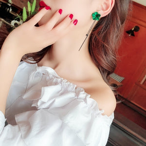 Earrings with Green Flower Tassels Retro Temperament Long Ear Style Ear Pendant for Woman
