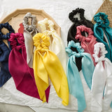 Women Fashion Silky Headband Boho Ponytail Bow Elastic Hair Rope Tie Scrunchies Ribbon Hair Bands
