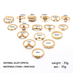 17 Pcs/set Women Fashion Wedding Ring Gold Geometric Crystal Diamond Carved Anise Star Knuckle Ring Set Charm Party Jewelry Accessories