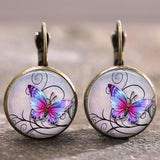2 Pair/SET Tile Earrings Butterfly Earrings Tree Earrings Celestial Jewelry Trendy Glass 18 MM Lever Back Earrings