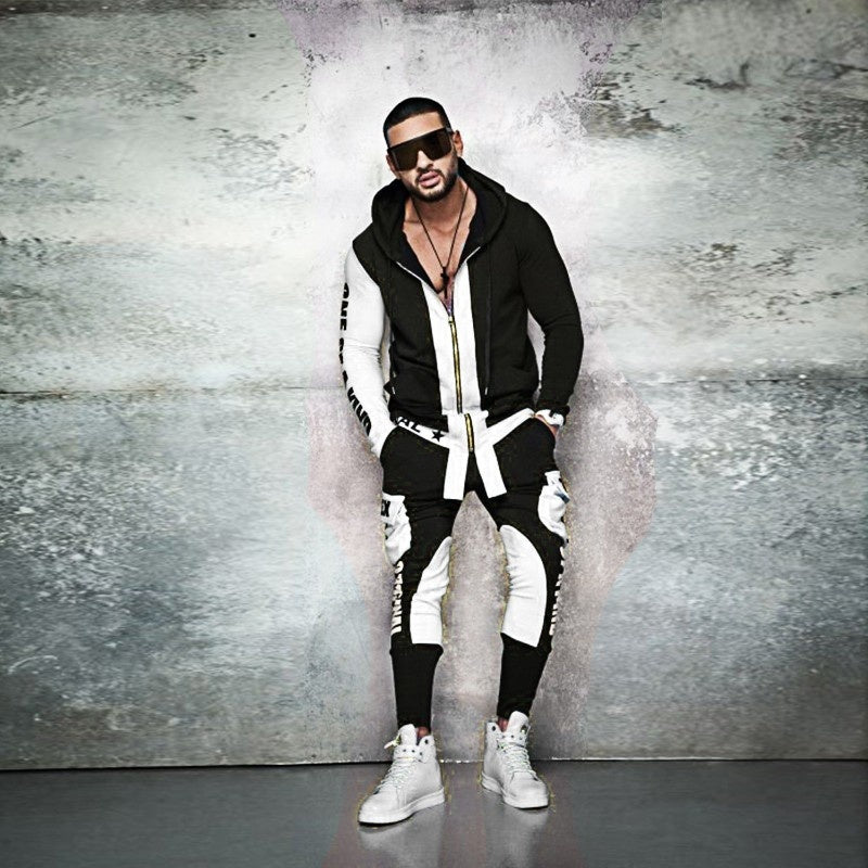 New Mens Casual Long-sleeved Pullover Hoodies Slim Fit Zipper Letter Printed Coat+pants Hoodie Set Men's Hooded Two Piece Sports Suit