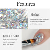 New Style Ladies Fashion Nail Art 5ml Shining Super Platinum Paint Gel Lacquer Soak Off Glitter UV LED Gel Nail Polish