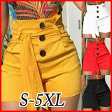 Summer Women's Fashion High Waist Lace Up Tie Pants Plus Size Casual Short Pants(S-5XL)