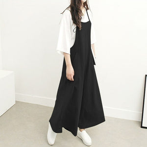 Women's Fashion Summer and Autumn Casual Jumpsuit Long Suspender Overalls Bib Pants Long Skirt For Young Girl S-5XL