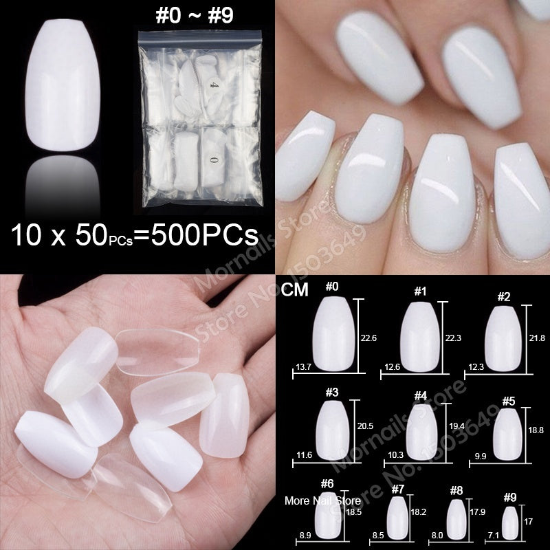 100 Pieces Per Box Or 500 Pieces Per Bag Short Full Cover Ballerina Coffin Acrylic False Nails 10 Sizes Fake Nail Tips