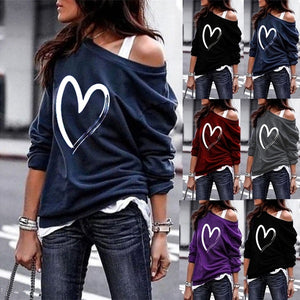 Women's One Shoulder Lightweight Heart Print Long Sleeve T-Shirts