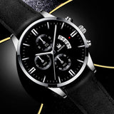 Luxury Mans Fashion Blue Light Glass Casual Wrist Watches New Men Anglog Leather Strap Calendar Quartz Watches Gifts