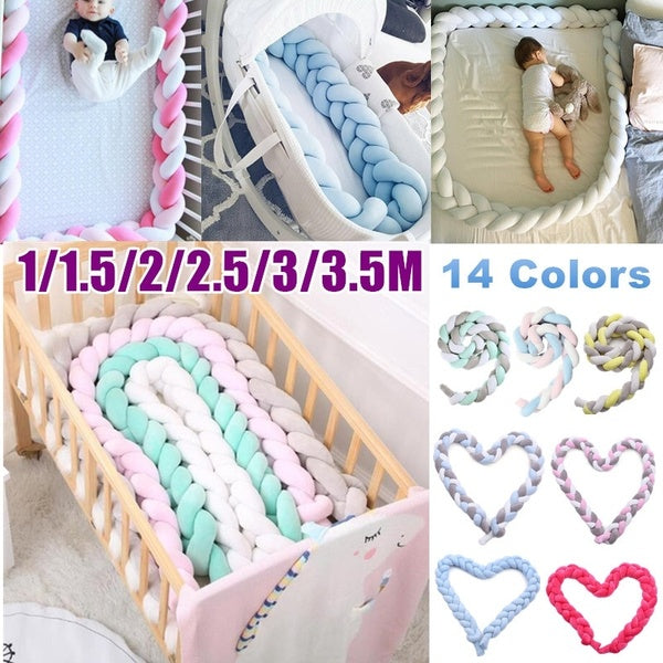 1/1.5/2/2.5/3/3.5M 3-Strands Soft Knot Pillow Decorative Baby Bedding Braided Crib Safety Anti-collision Bumper Cushion (14 Colors)