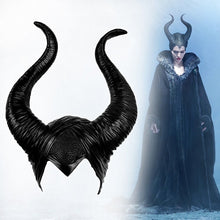 Load image into Gallery viewer, Halloween Cosplay Maleficent Witch Horns Hat Headwear Mask Headgear Helmet Party Black Queen