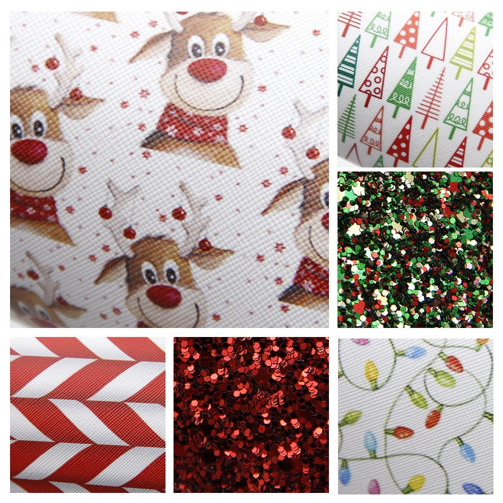 6 Pcs 7.9' x 13.4' Christmas Faux Leather Sheet Assorted Synthetic Leather Fabric for Hair Bows Headbands Making Festival Handmade Crafts